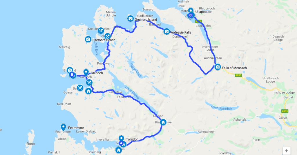 Map for Day 2 of North Coast 500 Self-guided Motorcycle tour