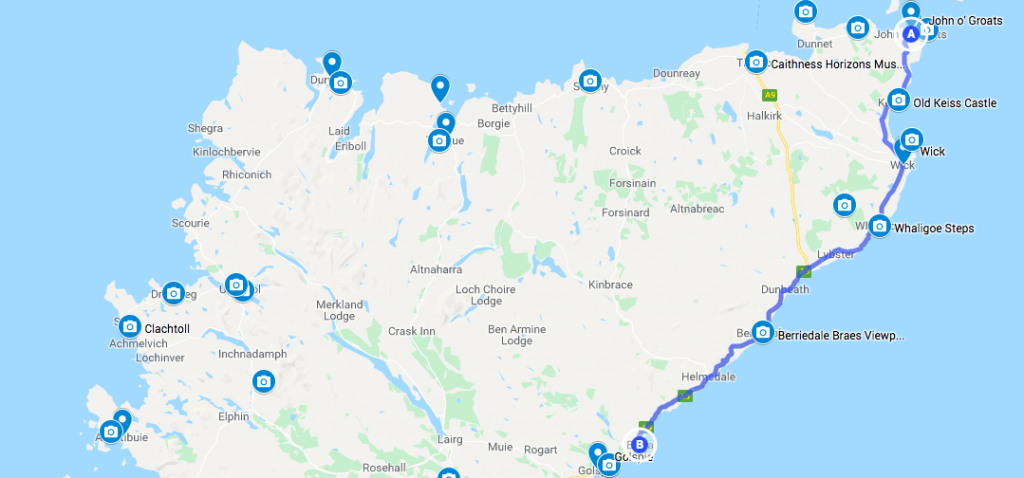 Map for Day 5 of North Coast 500 Self-guided Motorcycle tour